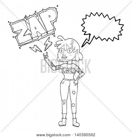 freehand drawn speech bubble cartoon alien rock fan girl
