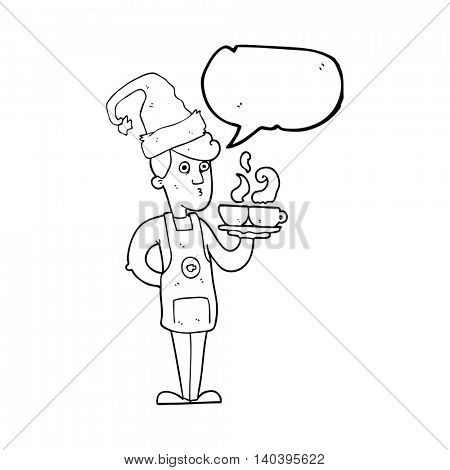 freehand drawn speech bubble cartoon barista serving coffee at christmas
