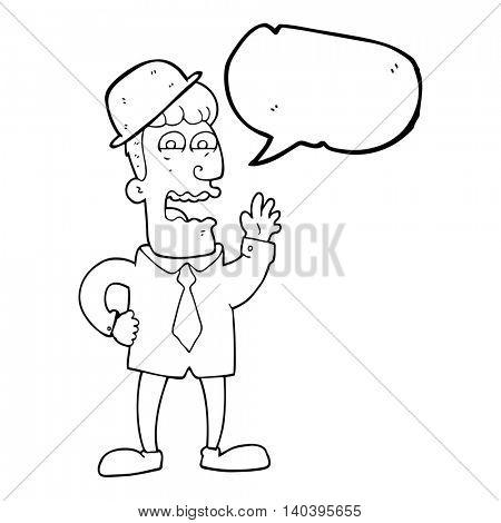 freehand drawn speech bubble cartoon businessman