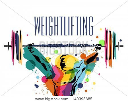 Illustration of a weight lifter man made by colorful splash on white background, Creative Poster, Banner or Flyer design for Weight Lifting Sports concept.