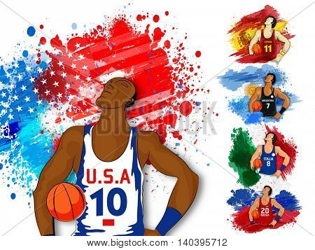 Creative illustration of a Basketball Player on American Flag colors background, Can be used as Poster, Banner or Flyer design for Sports concept.