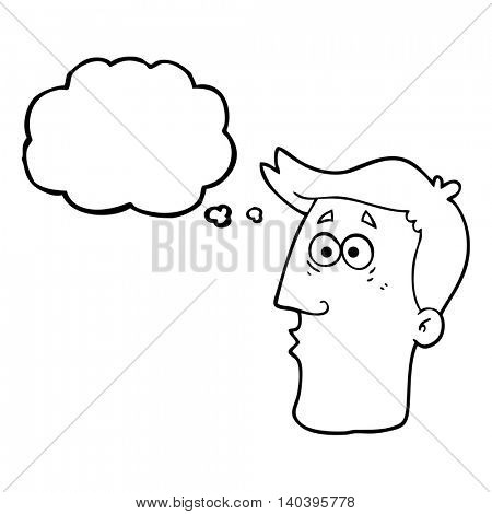 freehand drawn thought bubble cartoon male face