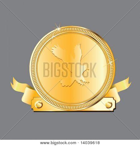 vector award medal - gold