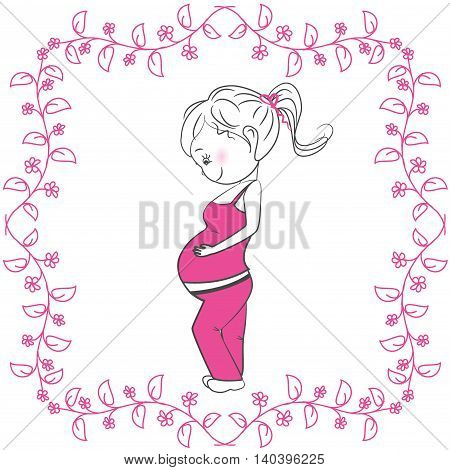 Pregnant woman and pink floral frame on a white background, vector illustration