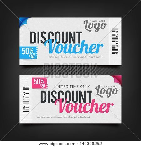 Discount Voucher with 50% off, Creative Gift Card or Coupon template layout, Can be used as Sticker, Tag or Label design also.