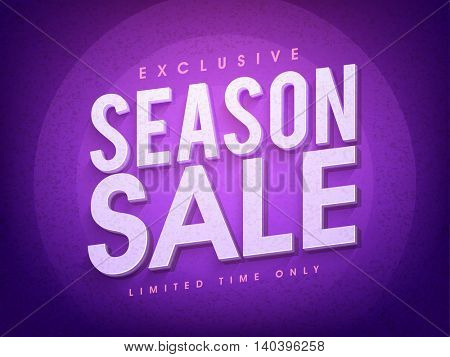 Exclusive Season Sale for limited time only, Creative 3D typographical background, Stylish Poster, Banner or Flyer design.