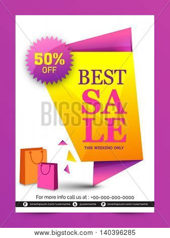 Best Sale Paper Tag, Sale Poster, Sale Banner, Sale Flyer, 50% Off, Weekend Sale, Glossy vector illustration with shopping bags.