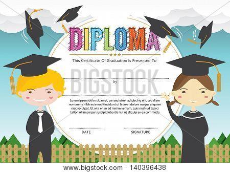 Preschool Elementary School Kids Diploma Certificate Background Design Template. EPS 10