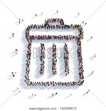 Large and creative group of people gathered together in the shape of a garbage can. 3D illustration, isolated against a white background. 3D-rendering.