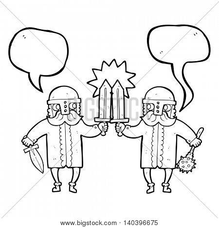 freehand drawn speech bubble cartoon viking warriors