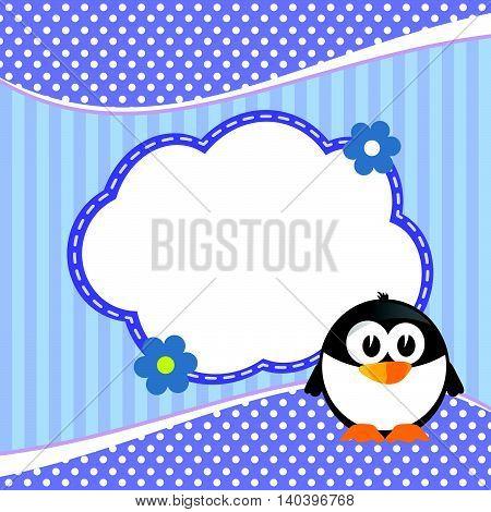 Banner For Children With Penguin In Blue Animal Illustration