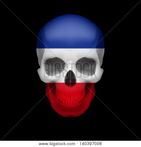 Human skull with flag of Yugoslavia. Threat to national security war or dying out