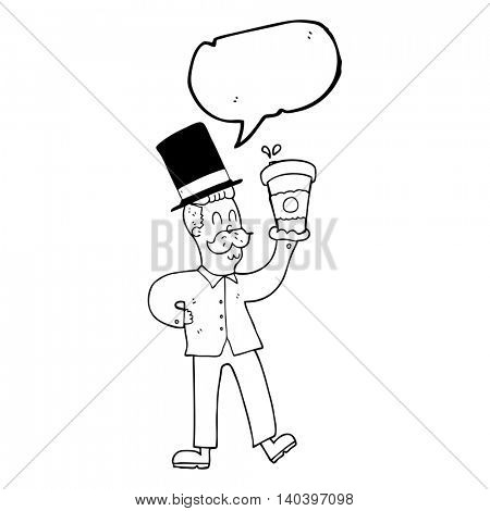 freehand drawn speech bubble cartoon man with coffee cup
