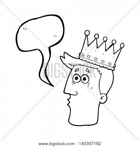 freehand drawn speech bubble cartoon kings head