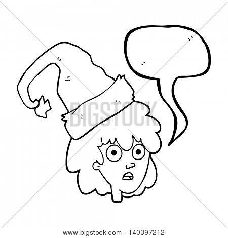 freehand drawn speech bubble cartoon woman wearning santa hat