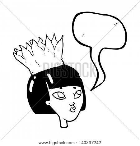 freehand drawn speech bubble cartoon woman wearing paper crown
