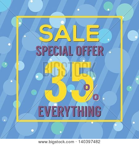Special Offer 35 Percent On Colorful Blue Bubbles And Stripes Vector Illustration. EPS 10