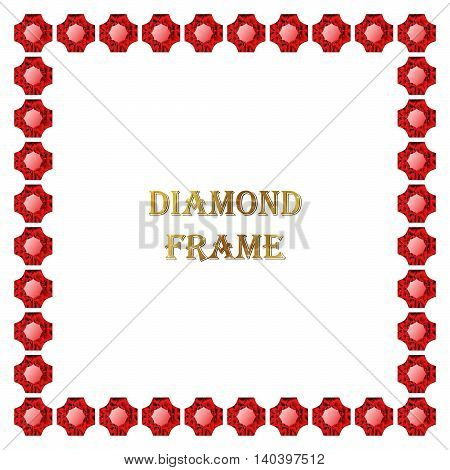 Red ruby square frame. Vector illustration jewelry. Abstract border on white background.