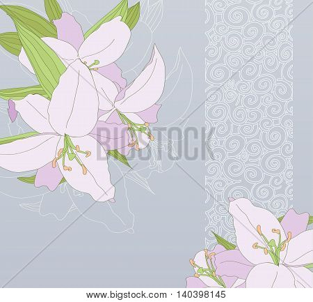 Card with lilies on blue background vector