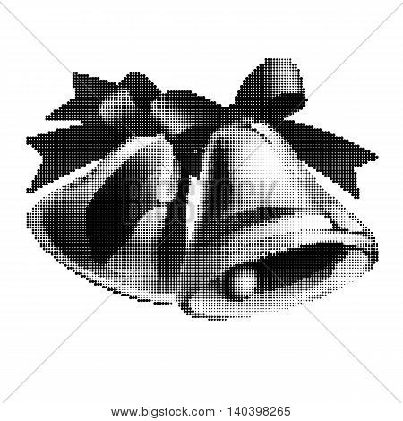 Black-and-white school bells with red ribbon on white background. Halftone style