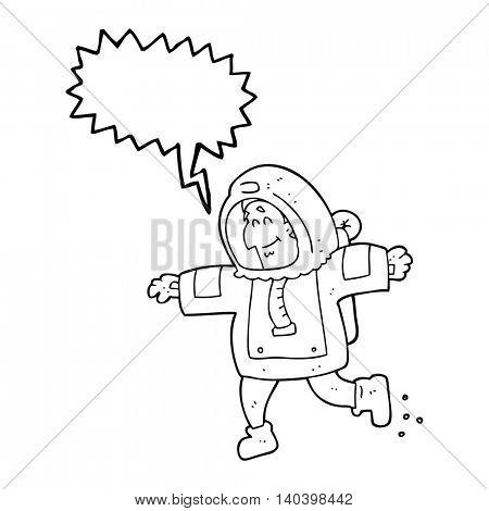 freehand drawn speech bubble cartoon astronaut