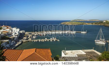 View on yacht Marina of Andros island in Aegean sea, Greece.