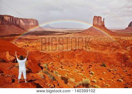 Navajo Reservation in the US. Red Desert and rocks -