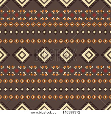 Geometric ethnic seamless pattern. Aztec background made of abstract geometric elements. Digital or wrapping paper