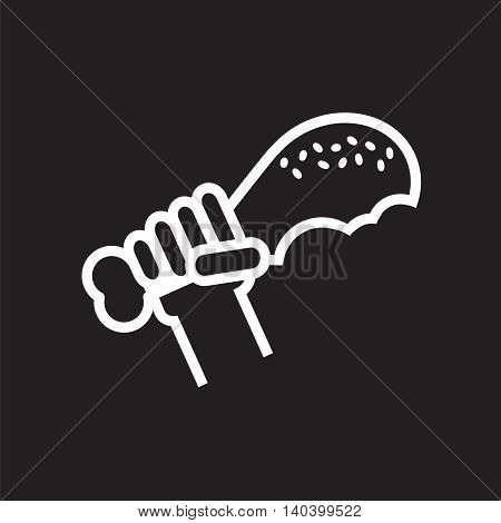 Line Icon Fried Drumstick In Hand Vector Illustration.