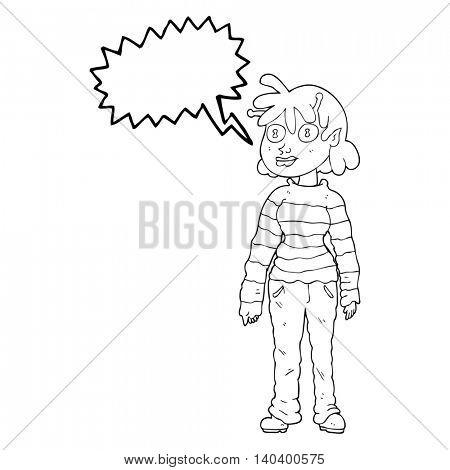 freehand drawn speech bubble cartoon casual alien girl