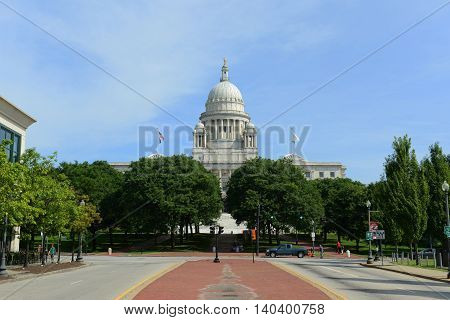 PROVIDENCE, RI - AUG 16: Rhode Island State House on Aug. 16, 2014 in Providence, Rhode Island, USA. Rhode Island State House was constructed in 1904 with Georgian style.