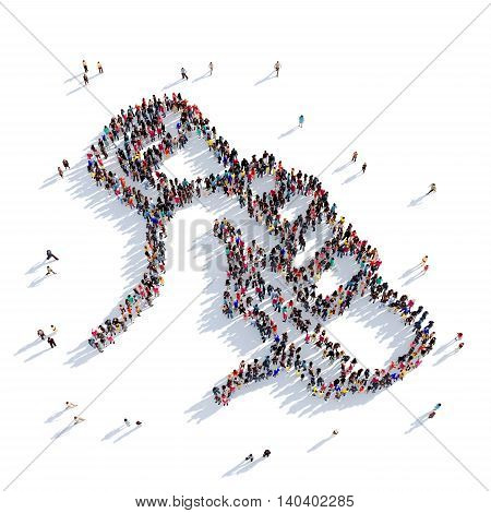 Large and creative group of people gathered together in the shape of paper in his hand. 3D illustration, isolated against a white background. 3D-rendering.