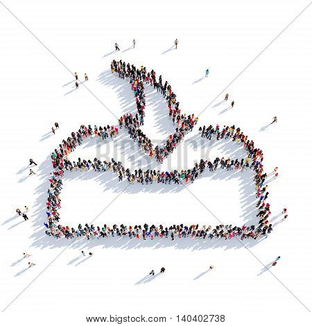 Large and creative group of people gathered together in the shape of download . 3D illustration, isolated against a white background. 3D-rendering.