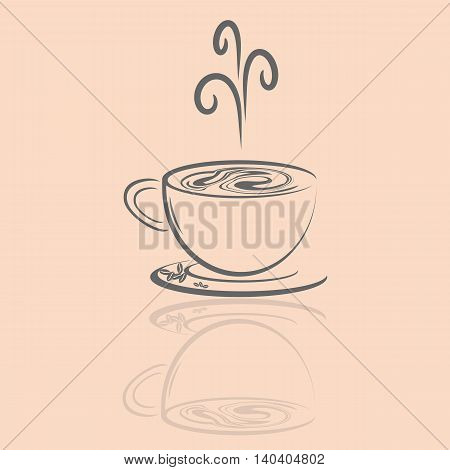 Vector icon of coffee cup drink hot
