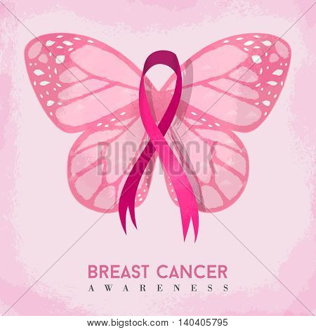 Pink Butterfly With Ribbon For Breast Cancer