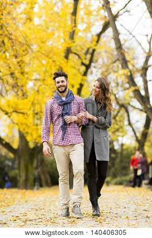 Young Couple In The Autumn Park