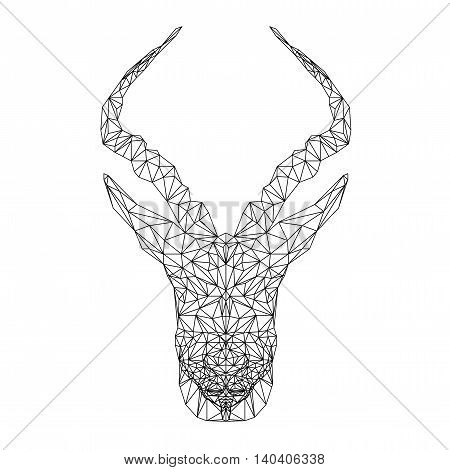 Springbok african animal. Vector antelope illustration for tattoo, coloring, wallpaper and printing on t-shirts. Gazelle silhouette in thin line style.