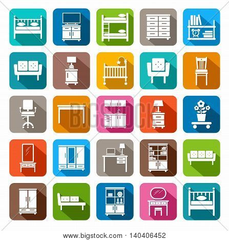 Furniture, icons, colored, flat. Vector icons of modern furniture for home and office. White image on a colored background with a shadow. A flat image.
