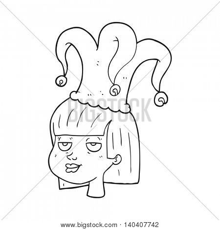 freehand drawn black and white cartoon female face with jester hat