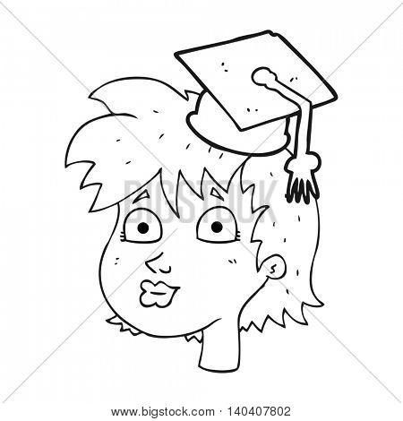 freehand drawn black and white cartoon woman wearing graduate cap