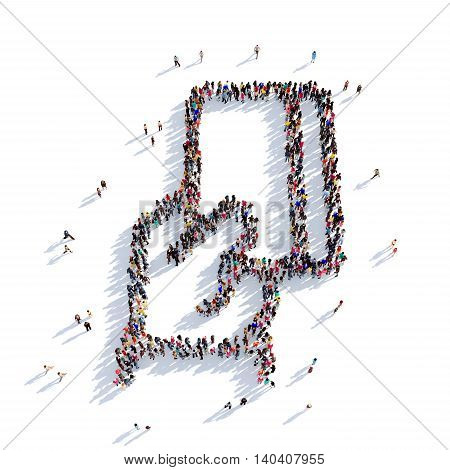 Large and creative group of people gathered together in the shape of a credit card. 3D illustration, isolated against a white background. 3D-rendering.