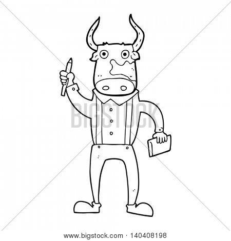 freehand drawn black and white cartoon bull man