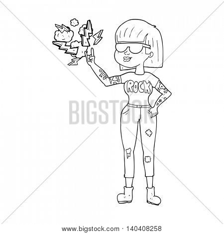 freehand drawn black and white cartoon rock woman