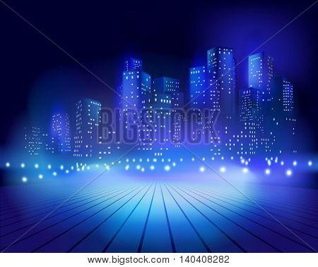 Square at night. Vector illustration