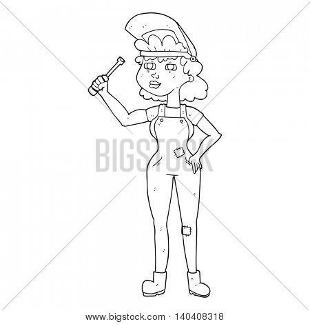 freehand drawn black and white cartoon female mechanic