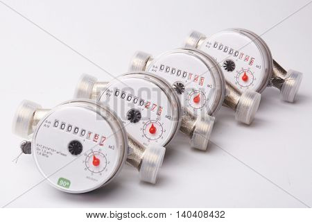 Water meters on a white background.