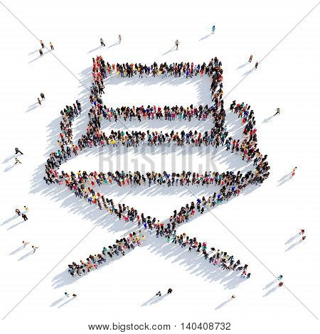 Large and creative group of people gathered together in the shape of a chair Producer, cinema. 3D illustration, isolated against a white background. 3D-rendering.