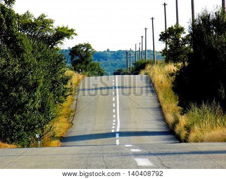 Asphalt road on hill - high climb