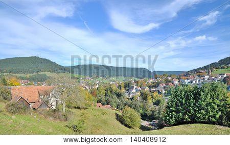 popular Village of Baiersbronn in Black Forest near Freudenstadt, Baden-Wuerttemberg, Germany
