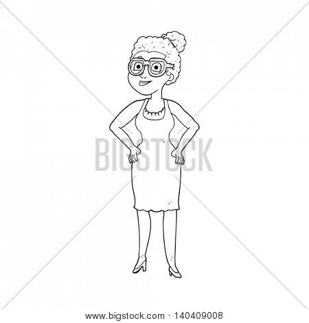 freehand drawn black and white cartoon woman wearing glasses